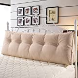 DOUH Cozy Flax Linen Large Backrest Filled Triangular Wedge Pillow for Positioning Support,Adult Reading Pillow for Bed/Couch,59''x20''x8'',cream