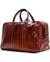 Cenzo Trunk Duffle Vecchio Brown Italian Leather Weekender Travel Bag