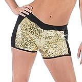 Gia Mia Girl's Sequin Block Dance Short Small (4-6) Gold