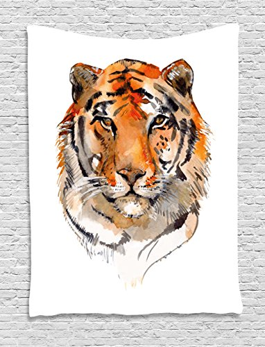 Hand Drawn Watercolor - Ambesonne Tiger Tapestry, Feline Animal with Calming Stare Hand Drawn Watercolor Art Exotic Wildcat Hunter, Wall Hanging for Bedroom Living Room Dorm, 40 W X 60 L Inches, Orange Black