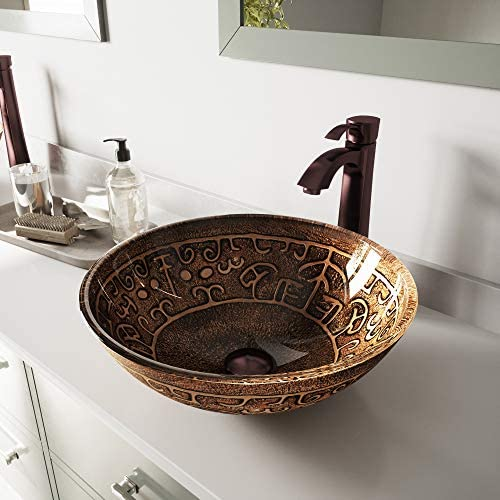 VIGO Golden Greek Glass Vessel Bathroom Sink and Otis Vessel Faucet with Pop Up, Oil Rubbed Bronze