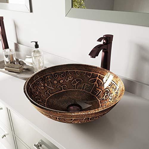 - VIGO Golden Greek Glass Vessel Bathroom Sink and Otis Vessel Faucet with Pop Up, Oil Rubbed Bronze