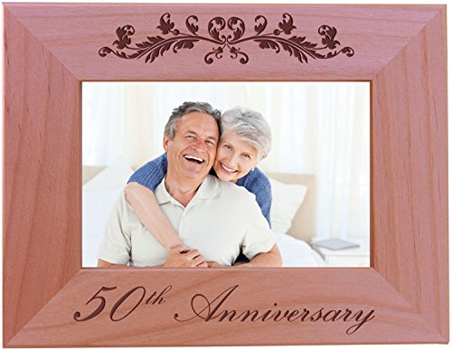 50th Anniversary - 4x6 Inch Wood Picture Frame - Great Anniversary gift for friends, parents and family