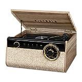 Victrola Reproductor de grabación Bluetooth 4 en 1 con Tocadiscos de 3 velocidades y Radio FM, Nogal de Granja