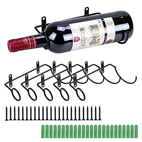 Wall Holder Metal Wine - Sumnacon Set of 6 Wall-Mounted Wine Racks with Screws,Metal Wine Glass Bottle Display Holder, Wine Store Decor Storage Organizer for Home Office Public Place Beverage Liquor Alcohol Bottle, Black
