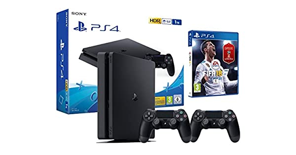 PS4 Slim 1Tb Negra Playstation 4 Consola - FIFA 18 + 2 Mandos ...