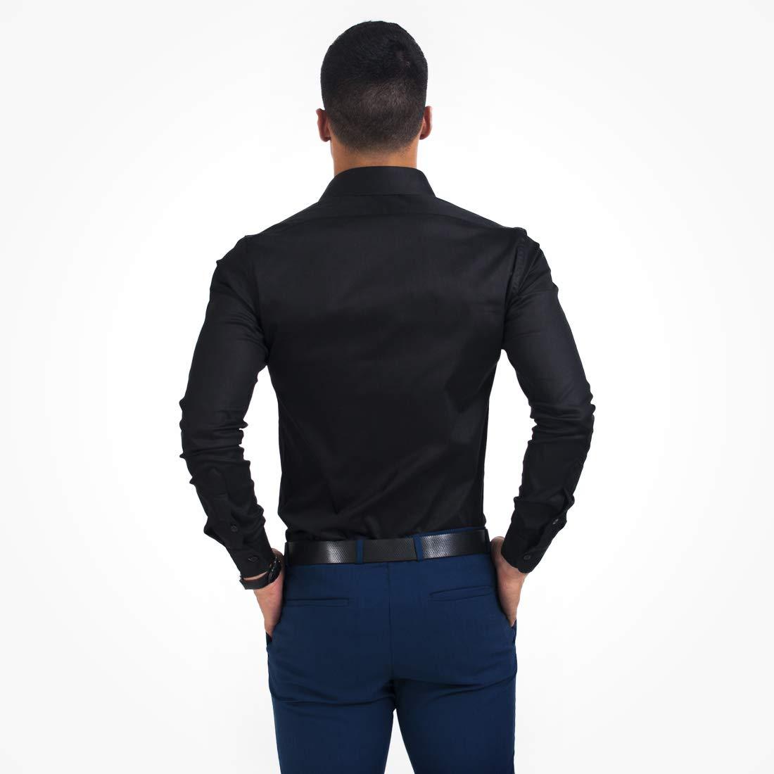 54cadd5a6c Camisa Social Masculina Preta Super Slim 200102  Amazon.com.br  Amazon Moda