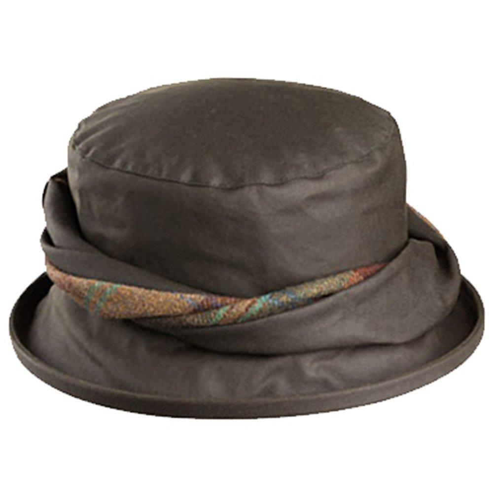 Olney Emma Waterproof Wax Hat with Tweed Trim (Olive)