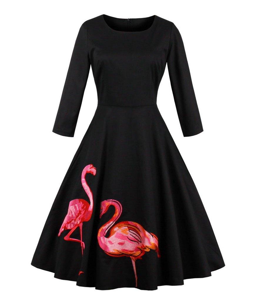 Lealac Women's Flamingo Summer Cotton Long Sleeve Vintage Midi Dress Swing 1950s Retro Style For Party L5-D1576 Black XL