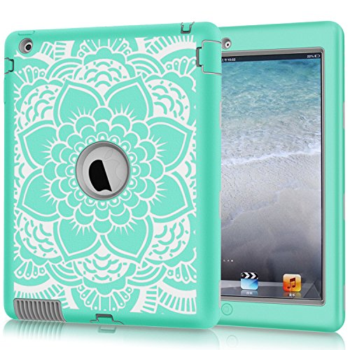 iPad-2-Case-iPad-3-Case-iPad-4-Case-Hocase-Shockproof-Silicone-Rubber-BumperHard-Shell-Full-Body-Protective-Case-for-Apple-iPad-2nd3rd4th-Generation-w-Retina-Display---Teal-Flower-Grey