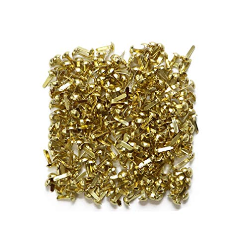 - LGEGE 200 Pcs Gold Tone Color Mini Metal Round Brads Craft DIY Paper Fasteners Scrapbooking Decoration Embellishment