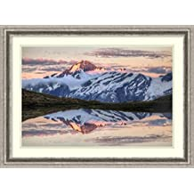Framed Art Print 'Mount Aspiring, moonrise over Cascade Saddle, Mount Aspiring National Park, New Zealand (II)' by Colin Monteath