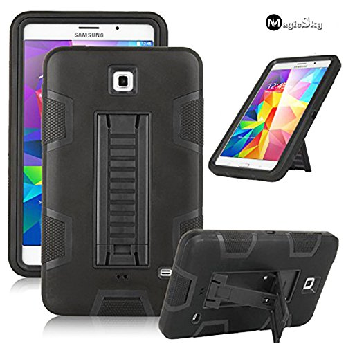 Galaxy Tab 4 7.0 Case, Magicsky 3in1 Heavy Duty Hybrid Shockproof Armor Kickstand Case For Samsung Galaxy Tab 4 7.0 T230 /T231/ T235 Galaxy Tab 4 Nook Cover - Black/Black (Samsung Galaxy Tab 4 Nook 7 Case)