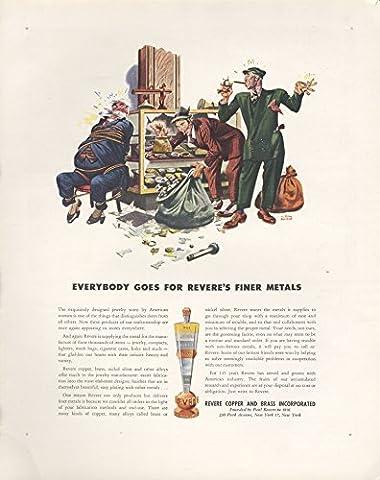 1946 Ad Albert Dorne Art Revere Brass Copper Burglery of Jewelry Store - Original Vintage - Revere Copper Brass