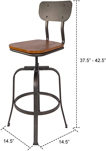 Industrial Style Adjustable Metal Swivel Height Bar Stools Set of 2 with Backrest by S DENTE