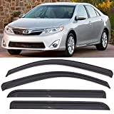 toyota camry rain - Window Visor Fits 2012-2014 Toyota Camry | Acrylic Unpainted Black Sun Rain Shade Guard Wind Vent Air Deflector by IKON MOTORSPORTS | 2013