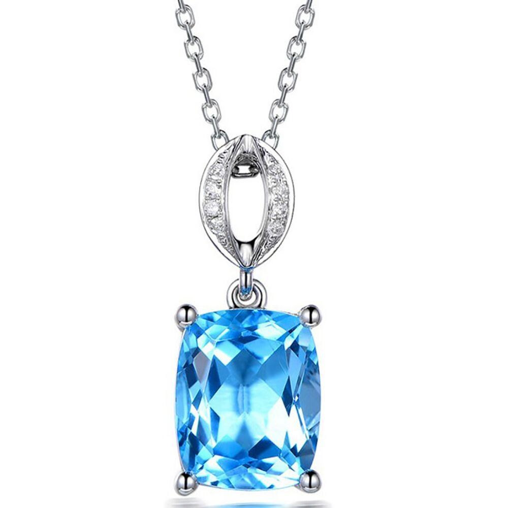 Eiwoda Miracle of love Square Ocean Blue Simulated Topaz Necklace with 5A Cubic Zircon Brilliant Cut Birthstone Pendant (ocean blue)