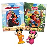 Fisher Price Disney Bath Toys and Bedtime Books Set -- 4 Pieces (Mickey Mouse Bath Toy, Minnie Mouse Bath Toy, 2 Classic Disney Storybooks)