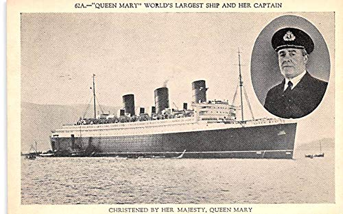 (White Star Line Cunard Ship Post Card, Old Vintage Antique Postcard Queen Mary, World's Largest Ship and her Captain Unused)