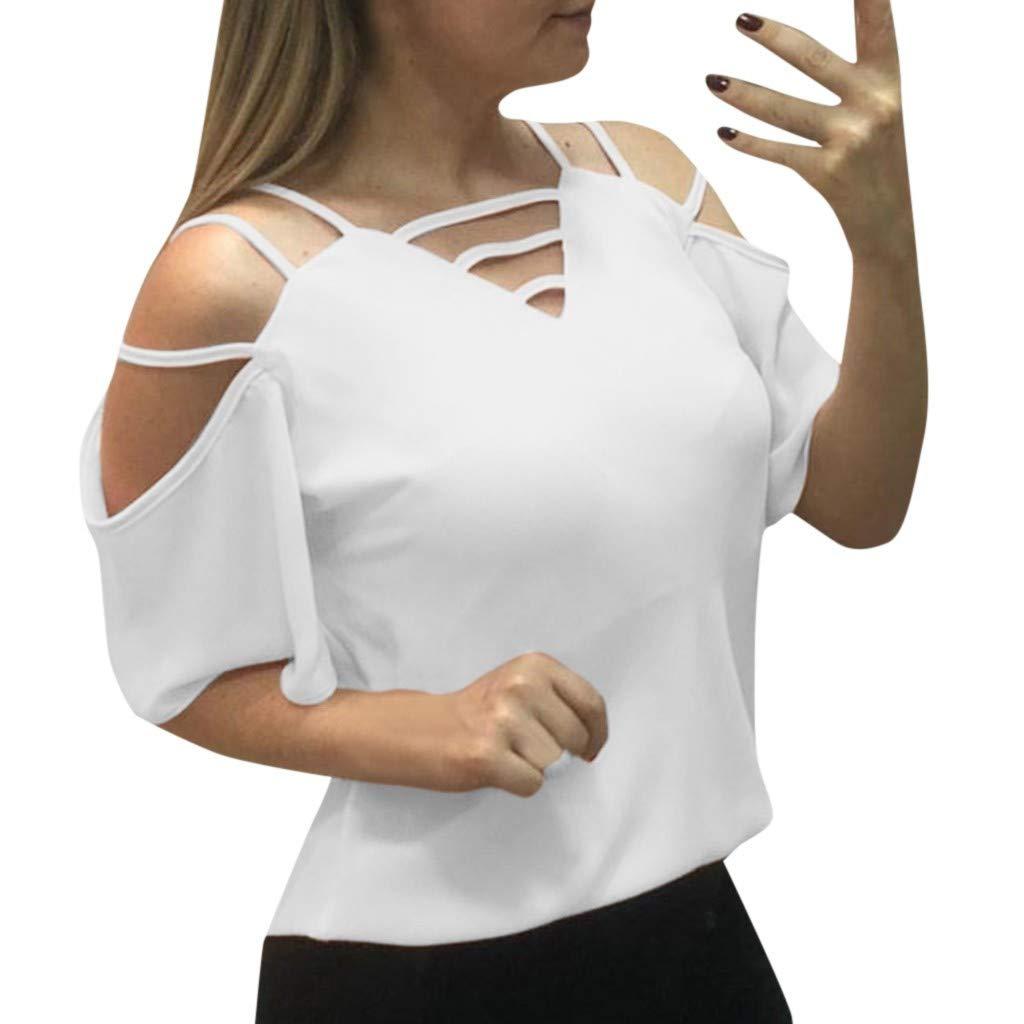 Kiminana Womens Casual V Neck Long Sleeve Criss Cross T-Shirt Blouse Tops White