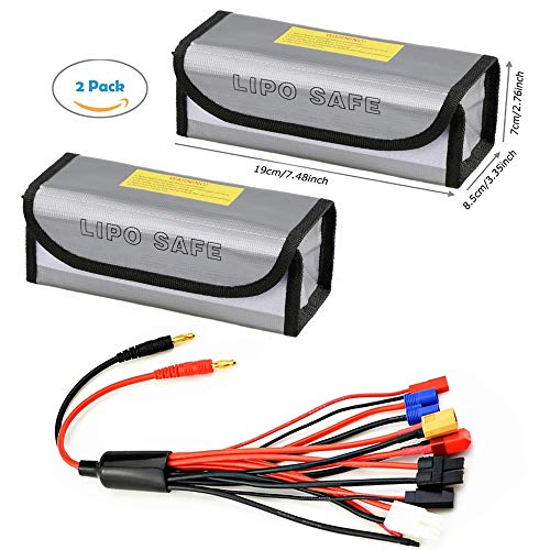 Skytoy 2 Packs Lipo Battery Bag with RC Battery Charger Adapter Connector Splitter Cable, 8 in 1 Octopus Convert Wire to 4.0mm Banana Plug for TRX, Tamiya, EC3, JST, Futaba, XT60, T- Dean