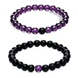 Gagafeel Couple Distance Bracelet His and Hers 8mm Black Agate & Pink Quartz Beads Matching Set Elastic Bracelets 2PCS (Black Agate & Purple Quartz)