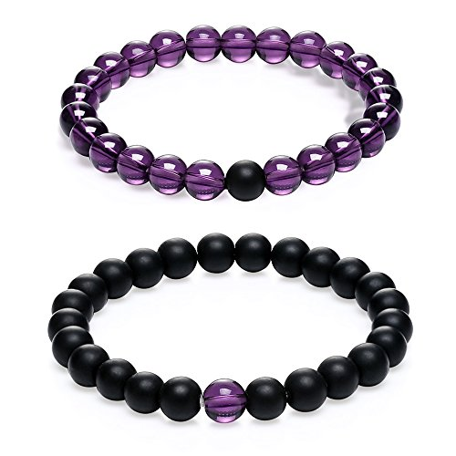 Gagafeel Couple Distance Bracelet His and Hers 8mm Black Agate & Pink Quartz Beads Matching Set Elastic Bracelets 2PCS (Black Agate & Purple Quartz) by GAGAFEEL