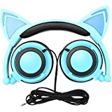 Cat Ear Kids Headphones,DICEKOO Flashing Glowing Cosplay Fancy Cat Ear Headphones Foldable Over-Ear Gaming Headsets Earphone with LED Flash light for Girls Boys Phone Tablet (Blue)