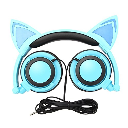 TechComm K7 LED Headphones with Pointy Cat Ears and Spare Battery (Blue) by TechComm