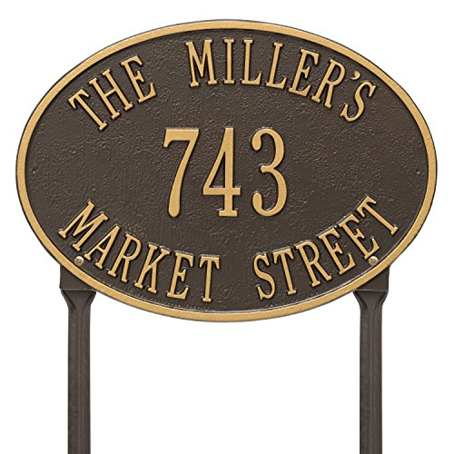 (Whitehall Products Hawthorne Standard Oval Bronze/Gold Lawn 3-Line Address Plaque)
