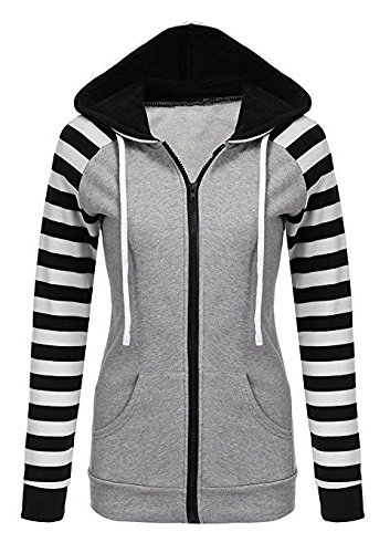 DYF L COAT Long Stripes size Women Zipper Black Coat Pocket sleeve Hat Big FYM TgwxOU5x