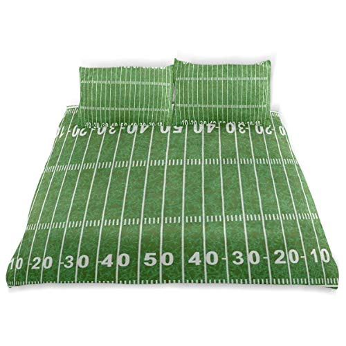 (OSBLI Bedding Duvet Cover Set 3 Pieces American Football Field Green Sport Lover Bed Sheets Sets and 2 Pillowcase for Teens)