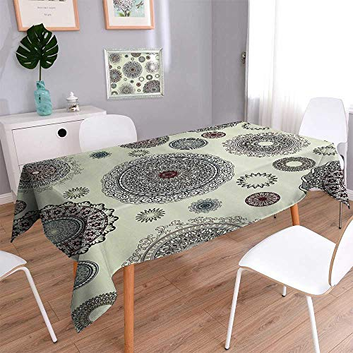 Vanfan Decorative Jacquard Rectangle Tablecloth Ornate Round Motifs Forms Oriental Nostalgic Islamic Style Old World in Retro Assorted Size 70''x120'' by Vanfan