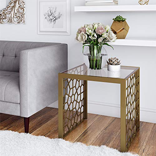 CosmoLiving Juliette Square Tempered Glass Top Side Table with Modern Gold Geometric Shape Pattern – Brass