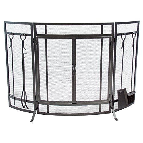 Uniflame S-1977 3 Panel Curved Screen with Doors by Uniflame