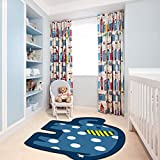Kid Rug for Bedroom, 2.6'x 4' YAMTION Elephant Boys and Girls Area Rug, Large Blue and White Soft Children Carpet, Non Slip Indoor Cartoon Rug for Playroom, Classroom, Nursery and Dormitory