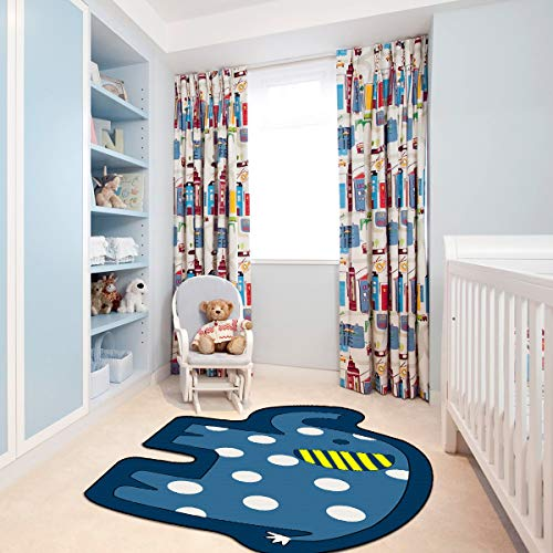 Kid Rug for Bedroom, 2.6x 4 YAMTION Elephant Boys and Girls Area Rug, Large Blue and White Soft Children Carpet, Non Slip Indoor Cartoon Rug for Playroom, Classroom, Nursery and Dormitory