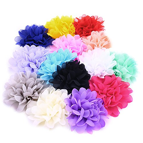 Fabric Flowers, 4 Inch 14Pcs Lace Chiffon Peony Fabric Flowers for DIY Headbands Girl Flower Accessories (Sew Fabric Flowers)