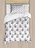 Ambesonne Hedgehog Duvet Cover Set Twin Size, Cartoon Hipster Animal with a Bag with Leaves Pattern Autumn, Decorative 2 Piece Bedding Set with 1 Pillow Sham, Purple Pale Orange and Grey