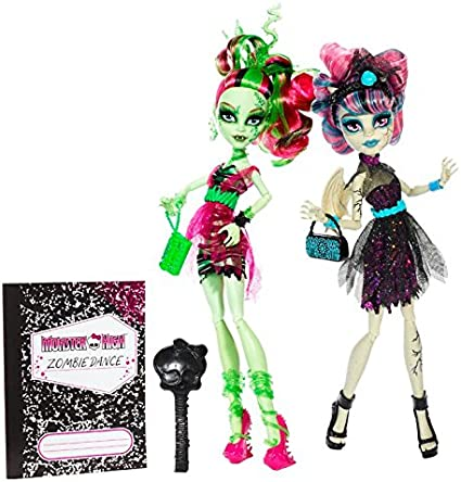 Amazon Com Monster High Zombie Shake Rochelle Goyle And Venus Mcflytrap Doll 2 Pack Toys Games