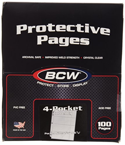 "100 4-Pocket Currency Pages 2.75"" x 6.5"" BCW NEW"