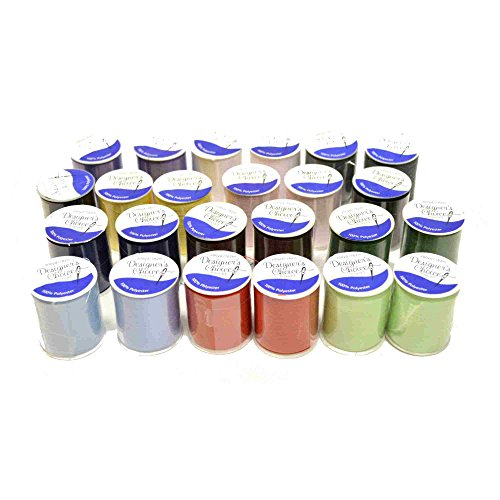 Bundle of 24 Spools 100% Polyester Sewing Thread - 200 Yards - Assorted Colors - 2-Up - Multi Colored Polyester Thread