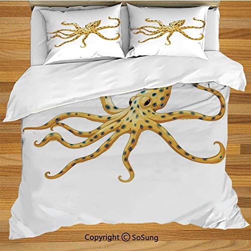 Octopus Decor Queen Size Bedding Duvet Cover Set,Blue Ringed Octopus Illustration Deadly Dangerous Creatures of the Sea Marine Wildlife Decorative 3 Piece Bedding Set with 2 Pillow Shams,Yellow White (Most Dangerous Sea Creatures Of All Time)