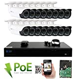 GW Security 16 Channel 4K NVR HD 1920P IP PoE Security Camera System with 16 Outdoor/Indoor 2.8-12mm Varifocal Zoom 5.0 Megapixel 1920P Cameras, QR Code Easy Setup, Free Remote View