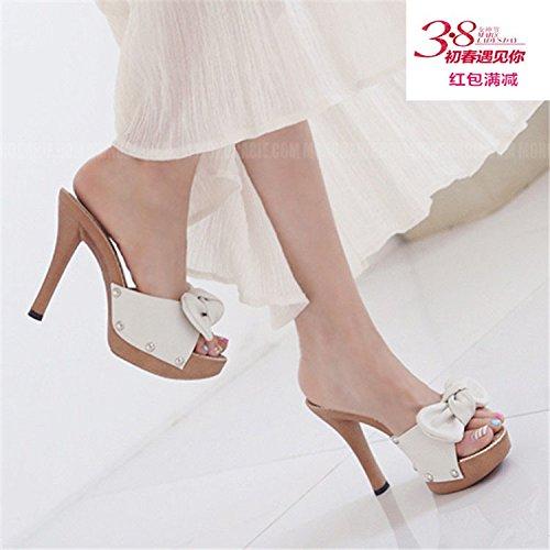 KHSKX-Korean Fashion Shoes Todo Partido Dulce Bowknot Damas Sandalias Sandalias Zapatos Sandalias De Tacon Con Una Buena MujerTreinta Y CincoBlanco