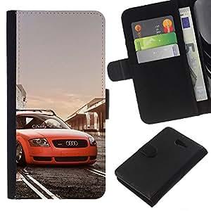 """JackGot ( Postura Low Rider Tt Car"""" ) Sony Xperia M2 la tarjeta de Crédito Slots PU Funda de cuero Monedero caso cubierta de piel"""