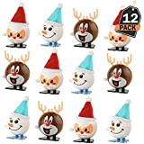 12 Piece Christmas Wind Up Toys Set, Stocking and Party Bag Fillers, Gift Giving, Party Favors, 3 Different Designs Per Set