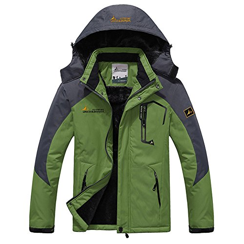 Seeduck Men's Waterproof Mountain Jackets Fleece Windproof Ski Jacket