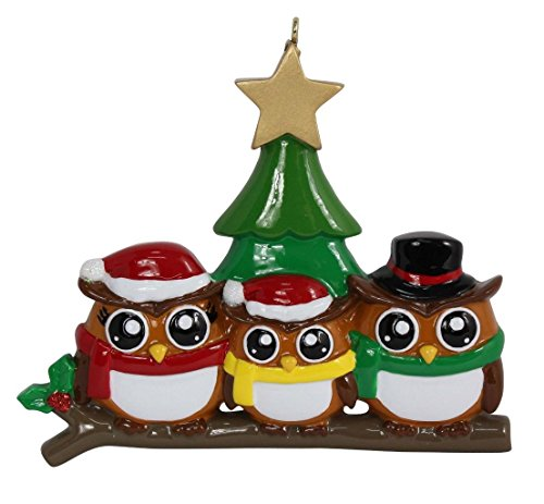 (WorldWide Personalized Ornament Owl Family of 3)