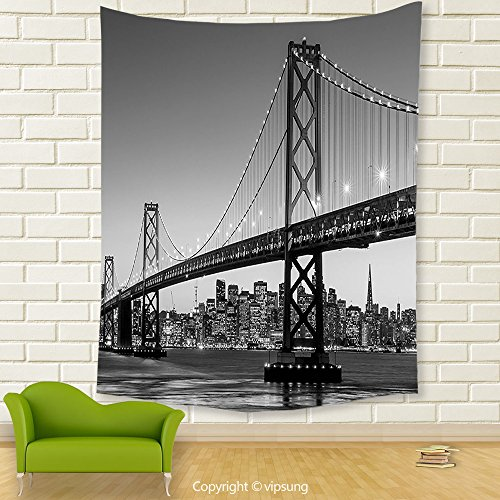 Vipsung House Decor Tapestry_Apartment Decor Collection Sun Setting View Of San Francisco Bay Bridge California Usa Tourist Attraction_Wall Hanging For Bedroom Living Room (Halloween Dog Parade San Francisco)